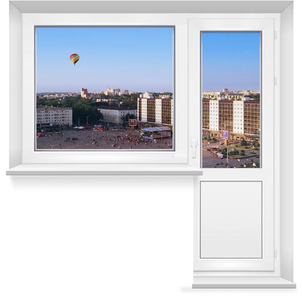 Балконный блок 5-этажных домов: поворотно-откидная дверь + глухое окно