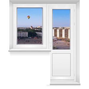 Балконный блок 9-этажки с поворотно-откидной дверью и глухим окном