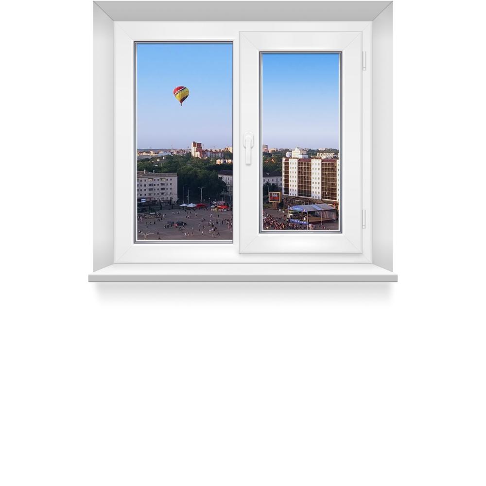 Двухстворчатое пластиковое окно с открывной и глухой створкой